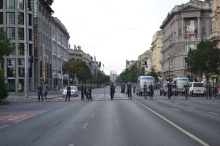 Police cordon at Bajcsy-Zsilinszky Avenue.