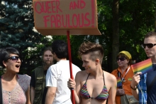 Participant in gay parade.