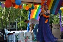 Participant in gay parade.