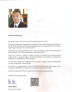 Orbán's newest letter.