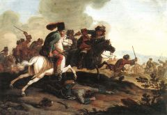 Encounter between Kuruc (left) and Labanc (right) cavalrymen at the time of the Rákóczi Rebellion (1703-1711).