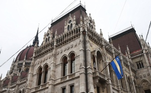 The Székely flag flying at the Hungarian Parliament Building in February 2013.