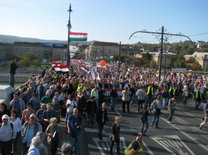 The pro-Orbán Peace March crosses Margaret Bridge in Budapest