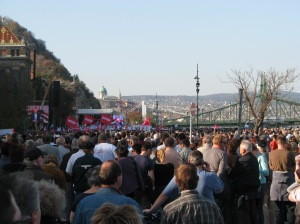 The united opposition rally in front of the Budapest Technical University