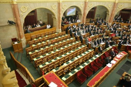 Hungarian Socialist Party seats during the National Assembly vote on the Fundamental Law.