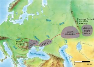 The gradual migration of the Magyars to the Carpathian Basinfrom the Ural Mountains (click on map for greater detail).