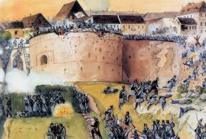 Hungarian Army troops storm Buda Castle during the Battle of Buda in May 1849.