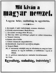 What Does the Hungarian Nation Want? The twelve demands of the 1848 Hungarian Revolution.