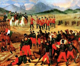 Hungarian troops surrender to the Russians at Világos on August 13, 1849.