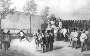 Execution of revolutionary Prime Minister Lajos Batthyány.