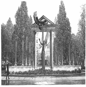 Proposed design for the 1944 German-occupation memorial on Szabadság Square in Budapest.
