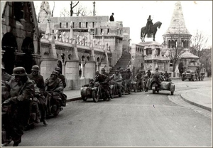 German motorcycle unit at the Fisherman's Bastion in Budapest following the invasion of Hungary in 1944.