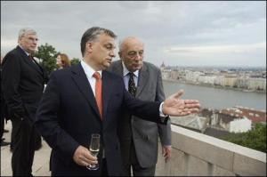 Prime Minister Orbán and John Lukacs looking over Budapest from Castle Hill in May 2013.