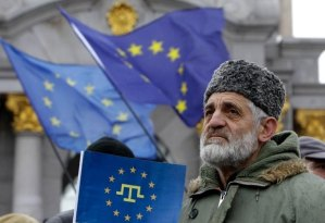Pro-European Union demonstrator in Kiev.