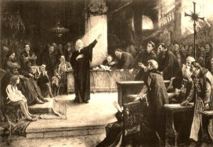 Unitarian Bishop Ferenc Dávid proclaims the Edict of Torda (1568).