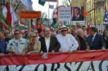 Peace March organizer Tamás Fricz (center).