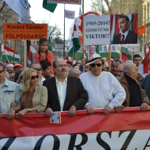 Peace March organizer Tamás Fricz (center).