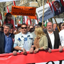 Peace March organizers Zsolt Bayer (second from left) and Tamás Fricz (second from right).