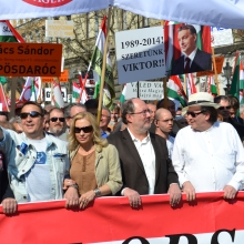 Peace March organizers Zsolt Bayer (left) and Tamás Fricz (second from right).