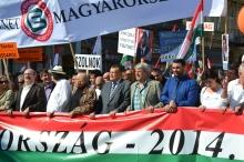 Peace March organizers: István Sefka (second from left), Gábor Széles (center) and László Csizmadia (second from right).