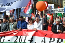 Peace March organizer András Bencsik (second from right).