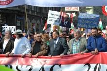 Peace March organizers: István Sefka (left), Gábor Széles (center) and László Csizmadia (right).