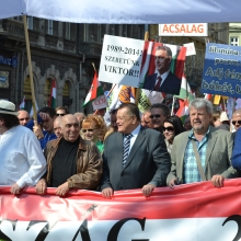 Peace March organizers: István Sefka (left), Gábor Széles (center) and László Csizmadia (right).