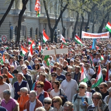 Peace Marchers proceed down Andrássy Avenue.