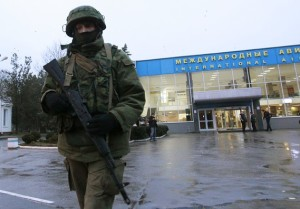 Russian soldier on patrol at Simferopol International Airport in Crimea.