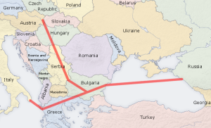 Route of the South Stream Pipeline.