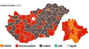Second-place finishers in individual voting-districts: brown=Jobbik; red=Change of Government; orange=Fidesz.