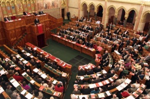 Plenary session of the National Assembly at the Hungarian Parliament Building in Budapest.
