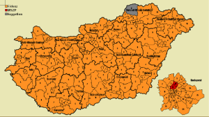 Electoral districts won in 2010 National Assembly elections: orange=Fidesz; grey=independent; red (within map of Budapest)=Hungarian Socialist Party.