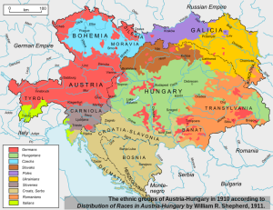 National-linguistic map of the Austro-Hungarian Monarchy.