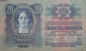 Twenty-krone Austro-Hungarian banknote.