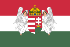 Flag of the Dual Monarchy-era Kingdom of Hungary.