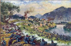 Austro-Hungarian troops in battle along the Italian Front.