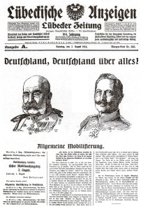 Lübeck newspaper announced Austro-Hungarian and German mobilization in August 1914.