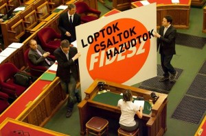 """You Steal, You Cheat, You Lie!"" Dialogue for Hungary representatives protest an amendment to the National Tobacco Shop Law."