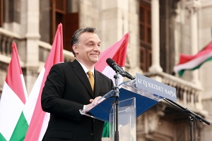 Newly appointed Prime Minister Viktor Orbán speaking outside the Hungarian Parliament Building in Budapest shortly after the landslide Fidesz victory in 2010 National Assembly elections.