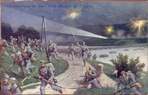 Austro-Hungarian troops pass across the Sava River during the invasion of the Kingdom of Serbia in August 1914.