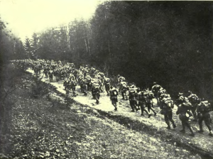 Troops from the Kingdom of Romania cross the Carpathian Mountains in 1916.