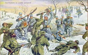 Austro-Hungarian and Russian troops engage in hand-to-hand combat at the Uzsok Pass in Galicia during winter 1914-1915.