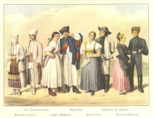 Nationalities from the Kingdom of Hungary (left to right): Romanians; Hungarians; Slovaks; and Germans.