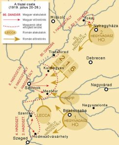 Hungarian-Romanian fighting along the Tisza River in July 1919: red arrowed lines = Hungarian Red Army attacks; red dotted lines = extent of territory occupied in attacks; brown arrowed lines = Romanian army counterattacks.