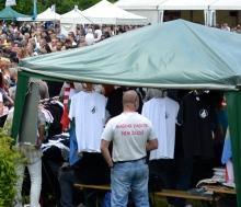 "Guest wearing shirt bearing inscription ""I Am a Hungarian, not a Jew."""