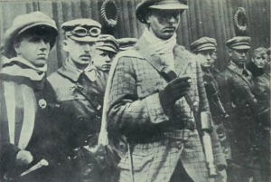 Communist-paramilitary commander József Cserny (center) and members of the Lenin Boys.