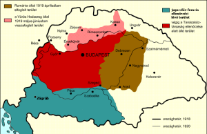 Zones of control within the boundaries of the pre-November 1918 Kingdom of Hungary: red = the Hungarian Soviet Republic; pink = territory the Hungarian Red Army recaptured from the Czecho-Slovak army during the Northern Offensive; brown = territory the Romanian army captured in April 1919; blue = region under control of Serbian army. Note that the uncolored areas represent territory under the control of the Czecho-Slovak army (north) and Romanian army (east) at the time of the proclamation of the Hungarian Soviet Republic.