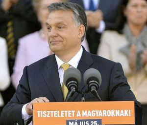 Prime Minister Viktor Orbán speaking to supporters outside the Hungarian Parliament Building after taking his oath of office for the new parliamentary cycle beginning in 2014.