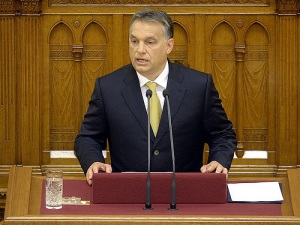 Prime Minister Orbán speaking at the Hungarian Parliament Building after taking his oath of office for the new parliamentary cycle beginning in 2014.